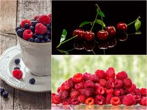 Colorful collage of different fruits and berries. Colorful collage of different fruits and berries, for a food background. Photo of mixed various kinds of stock photos