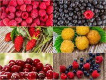 Colorful collage of different fruits and berries. Colorful collage of different fruits and berries, for a food background. Photo of mixed various kinds of royalty free stock photo