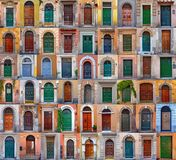 Colorful collage made of doors  from Rome. Italy Stock Photos