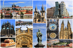 Colorful collage of most known landmarks of Prague. Czech Republic in Europe royalty free stock photos