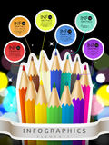 Colorful collage style infographic with color pencil Royalty Free Stock Photo