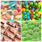 Colorful collage of various candies. And sweets royalty free stock photos