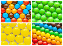 Colorful collage of various candies. And sweets stock images