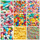 Colorful collage of various candies. And sweets stock photography