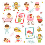 Colorful collection of adorable babies Royalty Free Stock Photo