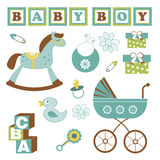 Colorful collection of baby boy announcement Stock Photo