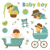 Colorful collection of baby boy announcement. Graphic elements. vector illustration stock illustration