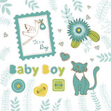 Colorful collection of baby boy announcement. Graphic elements. vector illustration vector illustration