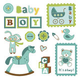 Colorful collection of baby boy announcement. Postal stamps. vector illustration stock illustration