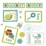 Colorful collection of baby boy announcement Stock Photography