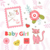 Colorful collection of baby girl announcement Royalty Free Stock Photo
