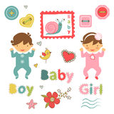 Colorful collection of baby girl announcement Stock Photography