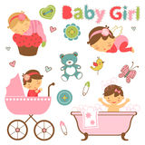 Colorful collection of baby girl announcement. Graphic elements. vector illustration stock illustration
