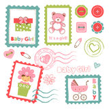 Colorful collection of baby girl announcement Royalty Free Stock Photography