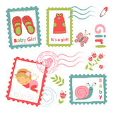 Colorful collection of baby girl announcement Royalty Free Stock Images