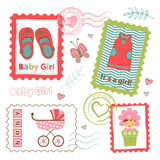 Colorful collection of baby girl announcement Stock Image