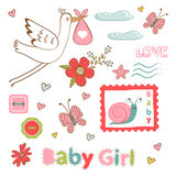 Colorful collection of baby girlannouncement Royalty Free Stock Photo