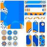 Colorful collection with background, banner, tags and ornaments Royalty Free Stock Photography