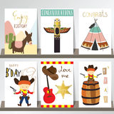 Colorful collection for banners,Flyers,Placards with cowboy Stock Images