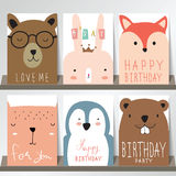 Colorful collection for banners,Flyers,Placards. With fox,rabbit,penguin and bear Royalty Free Stock Images