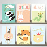 Colorful collection for banners,Flyers,Placards with panda,rabbi Stock Images