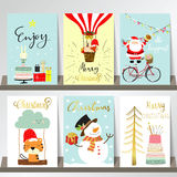 Colorful collection for banners,Flyers,Placards with tree,cake. Bycicle,tiger,rabbit,snowman and santa claus Royalty Free Stock Images