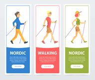 Colorful collection of cards with people Nordic walkers. Active young people outdoor. Sport and healthy lifestyle. Colorful collection of vertical cards with Stock Image