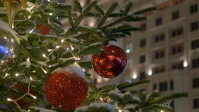 Colorful collection of Christmas Balls useful as a background pattern, close-up stock video footage