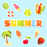 Colorful collection of cute summer theme illustrations Stock Photos