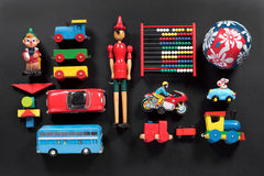 Colorful collection of cute vintage toys Stock Image