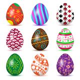 Colorful collection of Easter eggs with colored shadow. Vector illustration. Colorful collection of Easter eggs with colored shadow, isolated on white background royalty free illustration