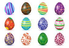 Colorful collection of Easter eggs with colored shadow. Vector illustration. Colorful collection of Easter eggs with colored shadow, isolated on white background stock illustration