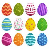 Colorful collection of Easter eggs with shadow. Vector illustration royalty free illustration