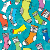Colorful collection of funny socks. Seamless pattern Stock Photos