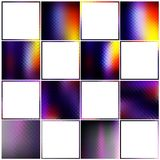 Colorful collection gradiented textures and borders. Bright set of 8 shiny graphic mosaic backgrounds and 8 abstract frame borders purple blue yellow red lilac vector illustration