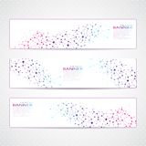 Colorful Collection horizontal banners Molecule Royalty Free Stock Photography