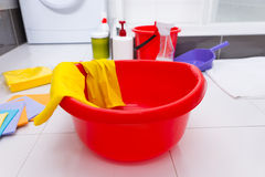 Colorful collection of household cleaning products Royalty Free Stock Photos