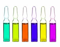Colorful collection medical ampoules isolated Royalty Free Stock Image