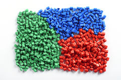 Colorful collection of molded plastic pellets Stock Photo