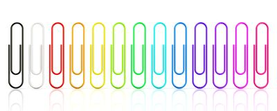 Colorful collection of paper clips isolated on white background Royalty Free Stock Photo