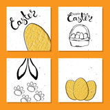Colorful collection of printable card for Easter with Easter eggs . Wishes for a happy Easter. Vector Stock Photos