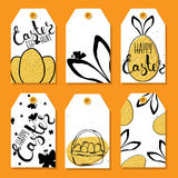 Colorful collection of printable tags and labels for Easter with Easter eggs and rabbit ears . Wishes for a happy Easter. Vector. Illustration Royalty Free Stock Image