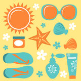 Colorful collection of summer icons Stock Photography