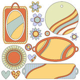 Colorful collection with tags, labels, flowers and hearts Royalty Free Stock Photo