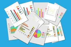 Colorful collection of various business charts. stock illustration