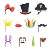 Colorful set with various carnival accessories. Hoop with bow and bunny ears, tie, cardboard crown, lips, mustache. Colorful collection with various carnival vector illustration