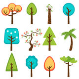 Colorful collection of vector trees Royalty Free Stock Photography