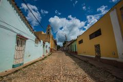 Colorful Colonial Caribbean historic city with beautiful cobblestone street, church and house, Trinidad, Cuba, America. Colorful Colonial ancient city classic royalty free stock images