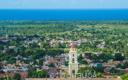Colorful Colonial Caribbean city overlook with classic building and church, Trinidad, Cuba, America. Colorful Colonial ancient town overview with classic stock photography