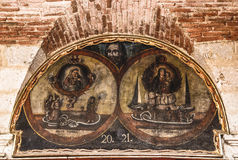 Colorful colonial architectural details, Arequipa. Wall paintings of saints on the wall of Santa Catalina monastery in Arequipa, Peru Stock Photography